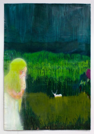 """The White Guilt of Weeping Willow"" Acrylic, and spraypaint on paper 84 in x 61 in"